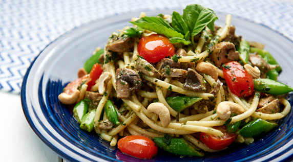 Bucatini Pasta with Basil Cashew Pesto