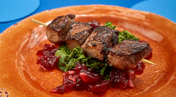 Pomegranate Marinated Lamb Skewers with Cranberry Chutney